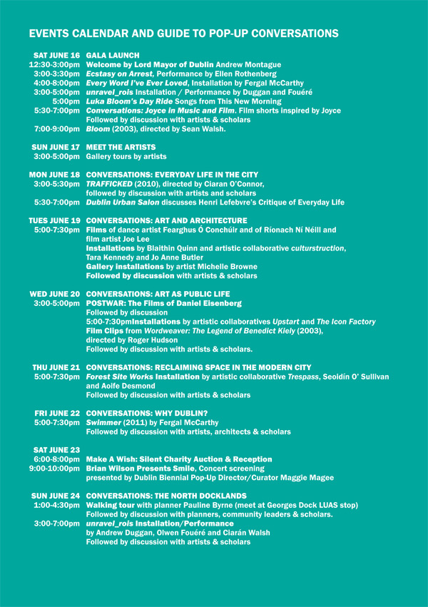 Dublin Biennial 2012 events guide